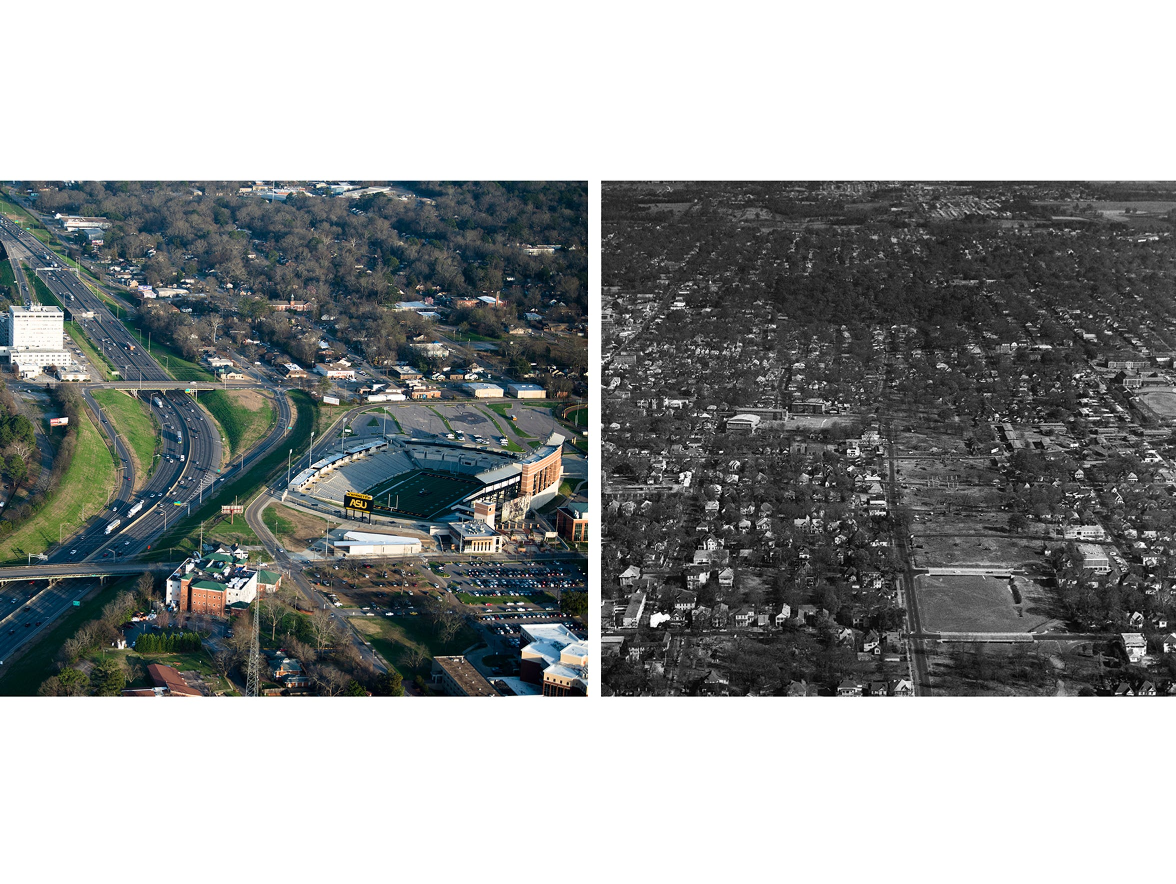 RIGHT: An aerial of I-85 past ASU in Montgomery, Ala.,