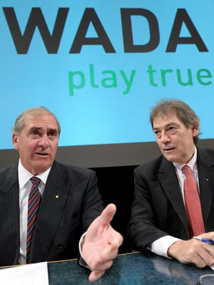 Australian John Fahey, left, President of the World Anti-Doping Agency, WADA, and David Howman, right, from New Zealand, Director General of the WADA, are seen during a WADA Media Symposium at the Olympic Museum in Lausanne, Switzerland February 24, 2009.