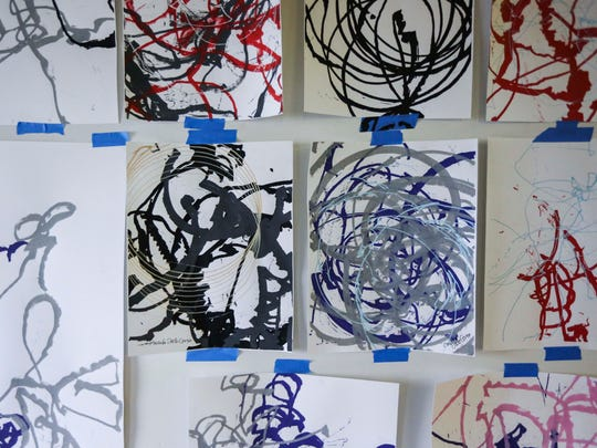 Paintings created by Ballet Des MoinesÕ artist in residence,