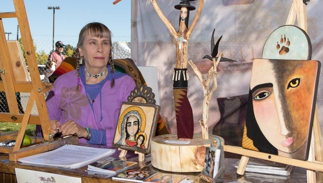 Artist and poet Virginia Maria Romero of Las Cruces shows traditional arts created here during the Renaissance era at the new Artistas del Camino Real feature at this month's Doña Ants Council Renaissance ArtsFaire