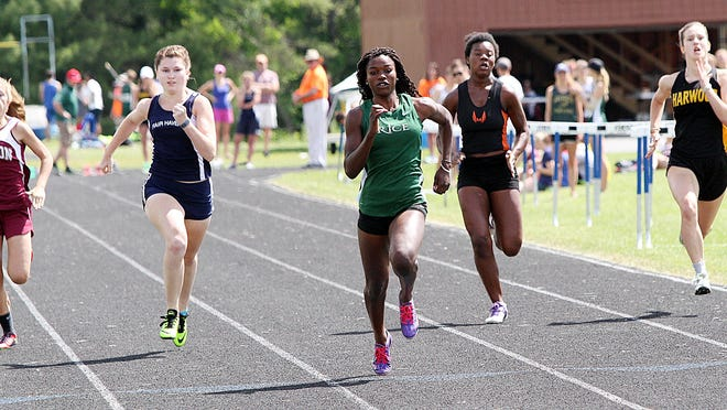 Rice Memorial's Sonia Jon cruises to a win in the 100-meter run premliminaries at the Vermont Division II state track and field meet at U-32 on Saturday, June 4, 2016.