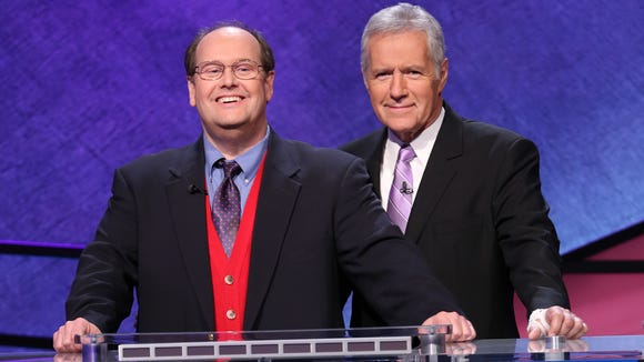 Dave Abbott and host Alex Trebek at the January taping