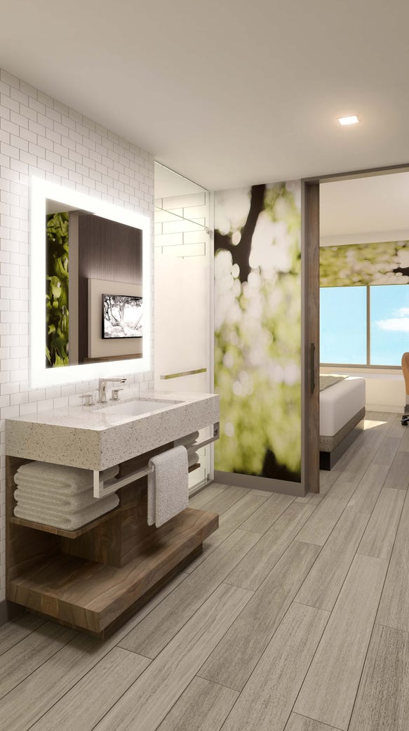 Hotels are getting more creative with guestroom bathrooms,