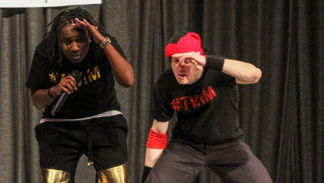 "Substance Nivens (left) of the Somerset section of Franklin and B-Boy Loose Goose of Princeton present an anti-bullying program called ""The TWIM Experience"" at Franklin Middle School on Jan. 16."