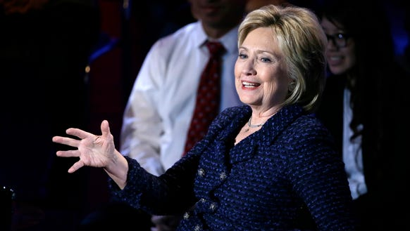 Hillary Clinton speaks at a forum in Des Moines, Iowa.