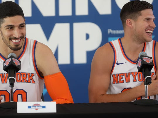 The newest Knicks, Enes Kanter and Doug McDermott joke that they were warned about the New York press on media day, Monday, September 25, 2017.