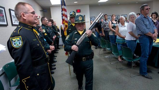 Members of Escambia County Sheriff's Office, family and friends of the department gathered together to remember fallen officers during the annual Law Enforcement Memorial Wednesday morning May 13, 2015.