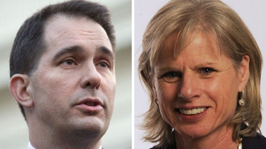 Wisconsin Gov. Scott Walker, a Republican, and his Democratic opponent, Mary Burke.