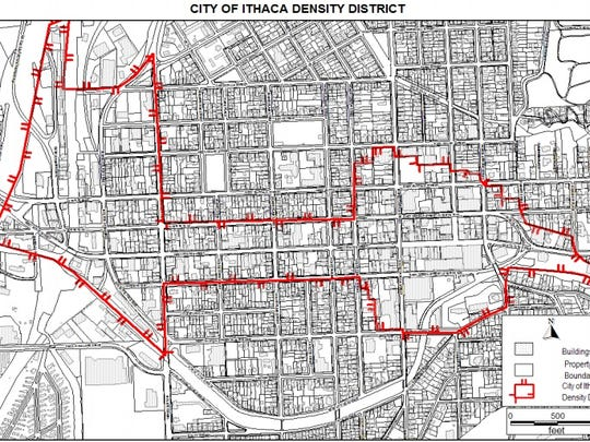 A map of the city's density district. Amendments to