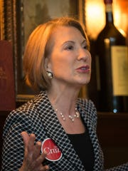Carly Fiorina talks to the crowd at an event for Sen. Ted Cruz at Benvenuto's Restaurant in Oshkosh.