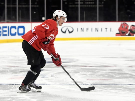 New Jersey Devils center Nico Hischier (13) during practice at the Prudential Center in Newark, NJ on Tuesday, April 10, 2018.