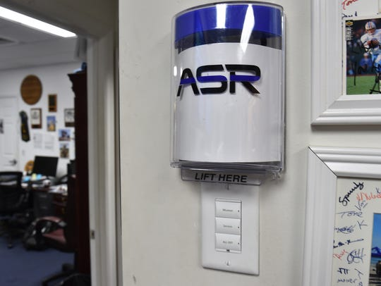 An ASR alarm system box is seen in an office of the