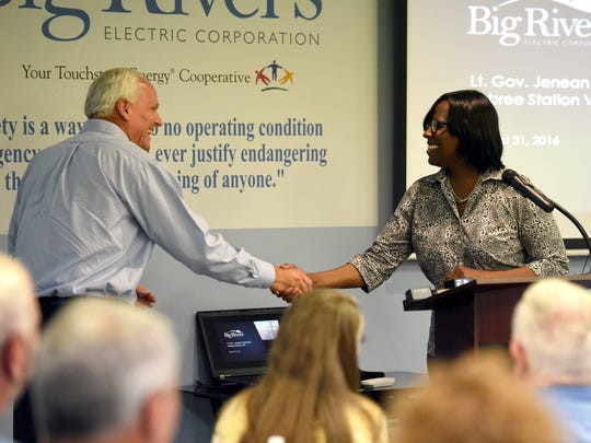Big Rivers CEO Bob Berry shakes hands with Kentucky Lt. Gov. Jenean Hampton as after she spoked to employees at the Sebree station in Robards Wednesday.  Hampton made several stops in Western Ky., including Big Rivers.