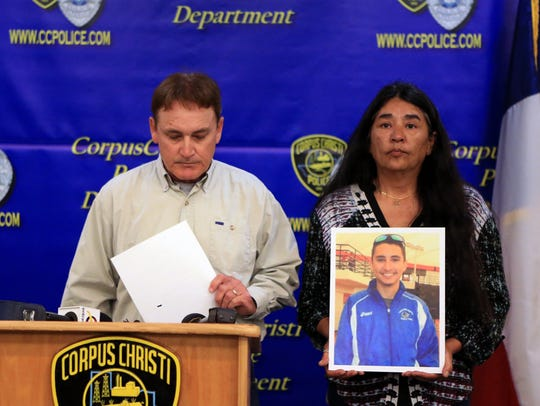Gregg Fuqua (left) and Sheila Fuqua appeal to the public during a news conference Feb. 21, 2017, at the Corpus Christi Police Department to come forward with information about the January murder of their son, Andre Fuqua, 25. He was found dead in a 2016 Subaru Crosstek along Interstate 37. His murder is one of two 2017 homicides that still are unsolved.