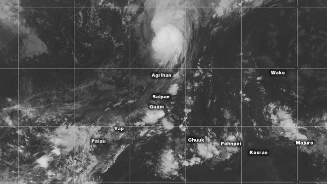 This infrared image posted Sunday shows Guam and nearby islands.