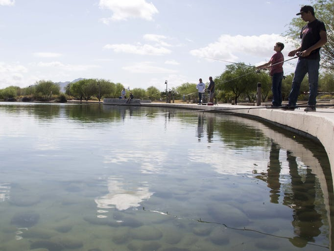 Wet a line in town ponds freshly stocked with catfish for Az game and fish license