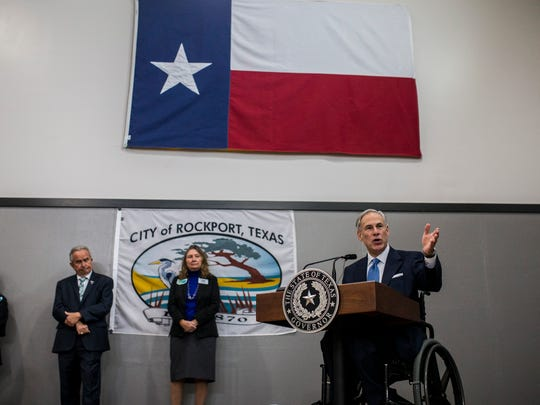 Texas Gov. Greg Abbott speaks about funding for the Hurricane Harvey recovery efforts during the Rockport-Fulton Chamber of Commerce luncheon Tuesday, Feb. 13, 2018 at Rockport Health and Fitness Club.