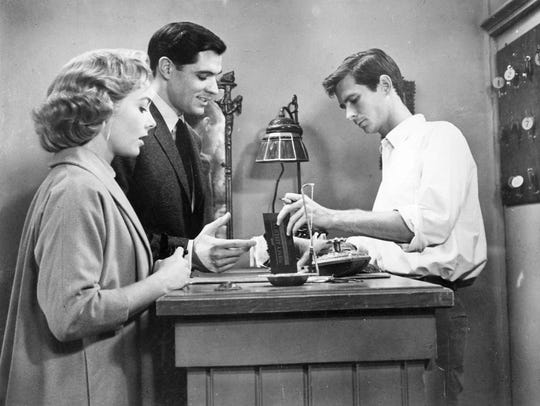 "John Gavin (center) had perhaps his best-known role in 1960's ""Psycho,"" with Vera Miles and Anthony Perkins."
