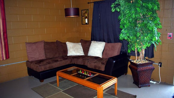 One of the comfortable seating areas inside the lounge.