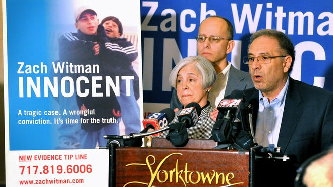In this file photo, Sue and Ron Witman, parents of Zachary and Gregory Witman, answer questions at a press conference with Lonnie Soury of Soury Communications Inc.