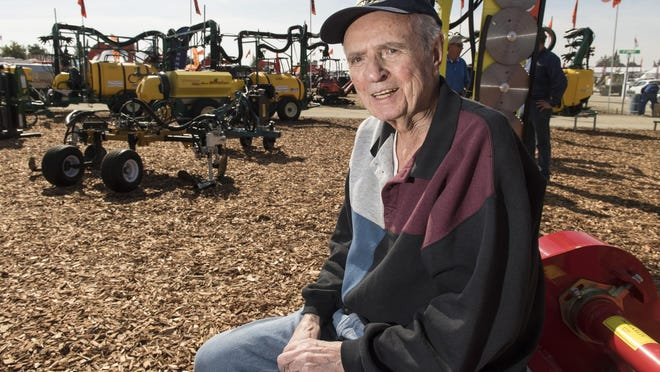 Bob Giersbach, 82, founded Gearmore Inc. and has been at every Tulare farm show since the beginning.