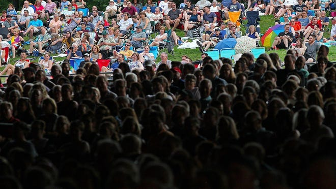"""Thousands of gathered for a recording of NPR's """"Wait Wait ... Don't Tell Me"""" at Blossom Music Center in Cuyahoga Falls on July 18, 2019."""