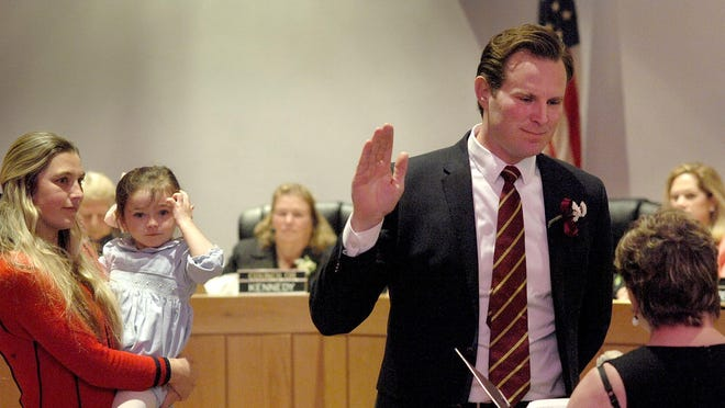 Deaglan McEachern is sworn in as a city councilor this past January at Portsmouth City Hall.