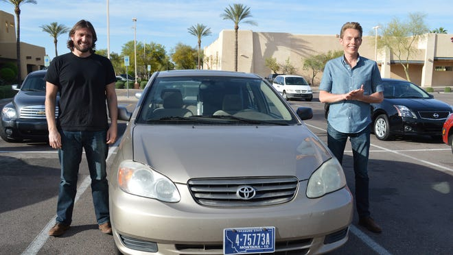 Ryan Nicodemus (left) and Joshua Millburn, the minimalists, made a stop in Tempe along their 100-city U.S. speaking tour. <137>with their 2006 Toyota, their sole transportation, which has more than 200,000 miles on it. <137>