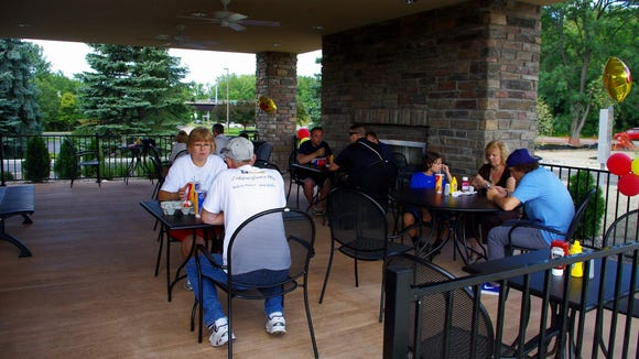 I think the patio (with working fireplace) is one of the nicest things about the new restaurant. (Photo: M. Rosenberry)