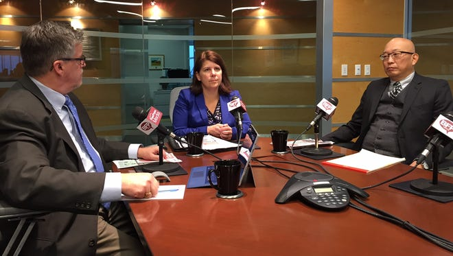 Vermont Chamber of Commerce President Betsy Bishop joins Free Press President & Publisher Al Getler (left) and Engagement Editor Aki Soga at The Table Thursday.