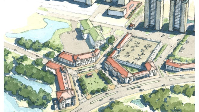 Consultants working with Escambia County's development services division presented a Perdido Key draft master plan and suggested zoning changes Tuesday morning. This rendering depicts a proposed town center at the curve of Perdido Key Drive tying into Sandy Key Drive.