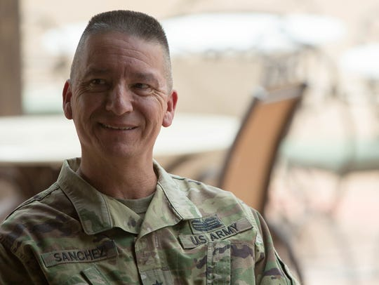 Brig. Gen. Eric L. Sanchez, commanding general, speaks about his retirement and change of command at White Sands Missile Range, Wednesday August 8, 2018.