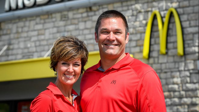 Dubois County residents Susan and Rick Mann, pictured in front of the McDonald's on Covert Avenue, are taking over five McDonald's restaurants in Evansville. The couple currently own/operate three of the restaurants in the Jasper-Ferdinand area Thursday, June 14, 2018.