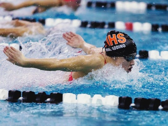 Northville's Kelsey Macaddino was victorious in the 100-yard butterfly at the Kensington Conference meet.