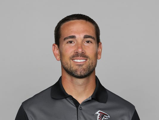 FILE - This 2016 file photo shows Matt LaFleur of the Atlanta Falcons NFL football team.  The Tennessee Titans have hired LaFleur as offensive coordinator and Dean Pees as defensive coordinator. LaFleur had interviewed for the Titans' head coaching job.  The Titans announced the moves by new coach Mike Vrabel on Tuesday.(AP Photo, File)