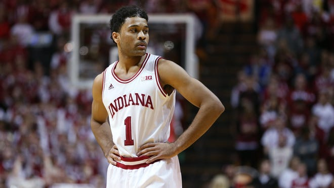 Indiana Hoosiers guard James Blackmon Jr. looks to the bench for instruction from his coaches in the second half against Penn State. Indiana hosted Penn State at Assembly Hall on Tuesday, January 13, 2015.
