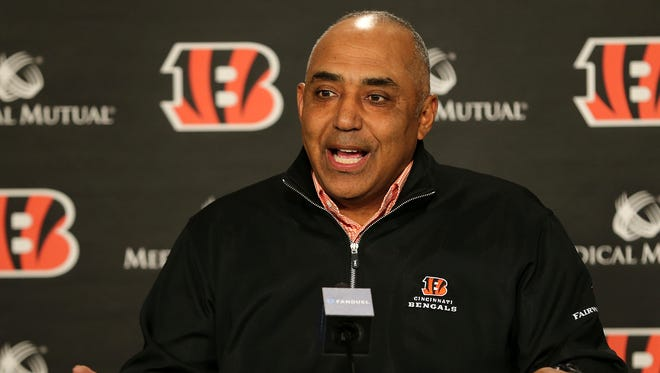 Cincinnati Bengals head coach Marvin Lewis, who was re-signed to a two-year deal through the 2019 season, answers questions from reporters, Wednesday, Jan. 3, 2018, at Paul Brown Stadium in Cincinnati.
