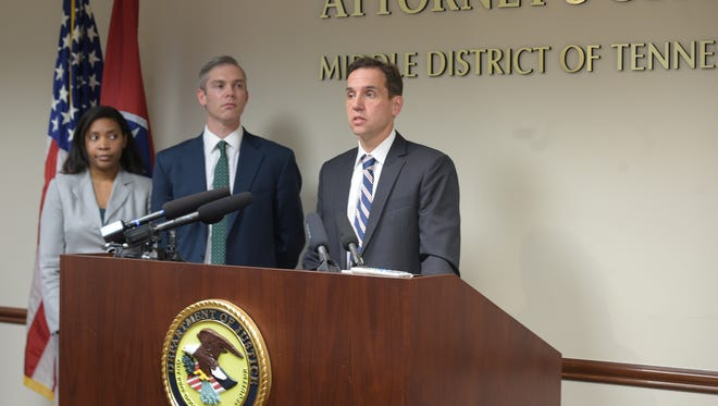 Acting U.S. Attorney Jack Smith holds a news conference announcing significant developments in a public corruption matter involving Nashville Judge Casey Moreland at the federal courthouse annex in Nashville on March 28, 2017.