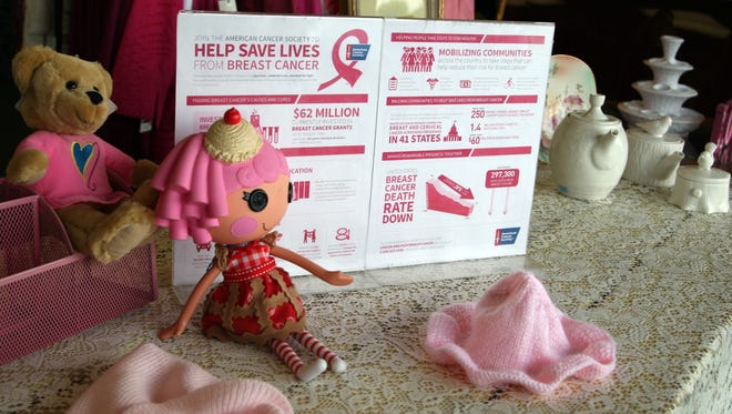 Window display at  Salinas Discovery Shop promotes Breast Cancer Awareness Month
