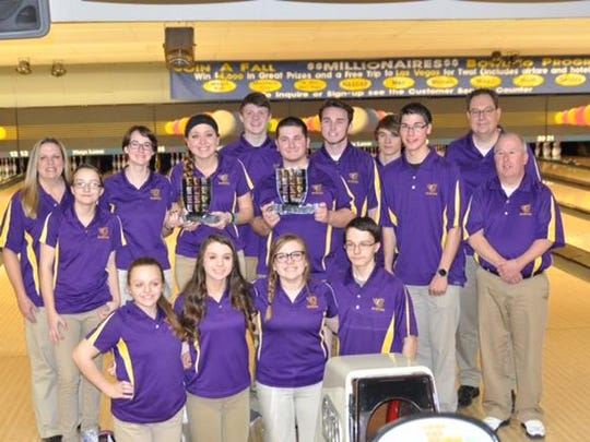 The Johnston boys' and girls' bowling teams both won the CIC Invitational. Front row, from left: Madison Singleton, Morgan Wolfe, Chantelle Foster and Hunter Norris. Back row: Coach Xan Taylor, Lexi Norris, Loyal Ulm, Rosie Mc Aninch, Spencer Wolfe, Drew Hicks, Jared Erickson, Nathan Zoss, Jacob Smith, coach Scott Taylor and assistant coach Terry Hicks.