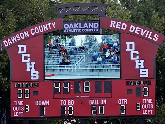 The scoreboard at the complex shows instant replays.