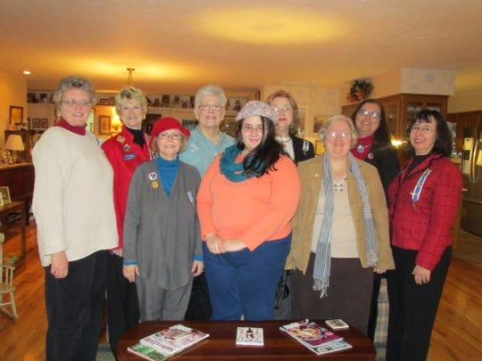 From left to right: Gwen McReynolds, Jackie Utley, Debbie Bosten, Marianna Warmath-Lewis, Virginia Bates, Mandy Williams, Linda Higgins, Jan Bynum and Beth Bates visited Davy Crockett's last home in Rutherford.