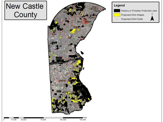 Black area are lands already protected by state, federal or non-profit purchase or easement. In New Castle County only the large county land holdings are included. Smaller parts are not marked on the map.The yellow areas are places state officials have preliminarily  identified as important habitats, historic areas or with recreational potential.