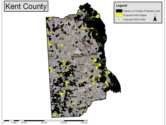 Black area are lands already protected by state, federal or non-profit purchase or easement. The yellow areas are places state officials have preliminarily identified as important habitats, historic areas or  with recreational potential.