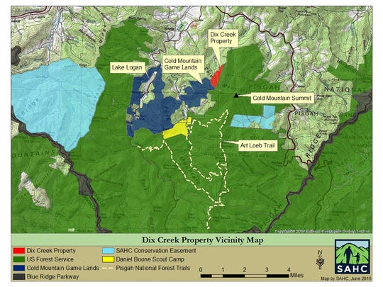 The Southern Appalachian Highlands Conservancy had purchased a large tract of land on Cold Mountain for conservation.
