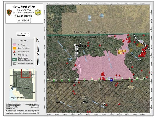 Map of Cowbell Fire perimeter.