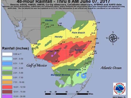 Rainfall in South Florida June 7, 2017.