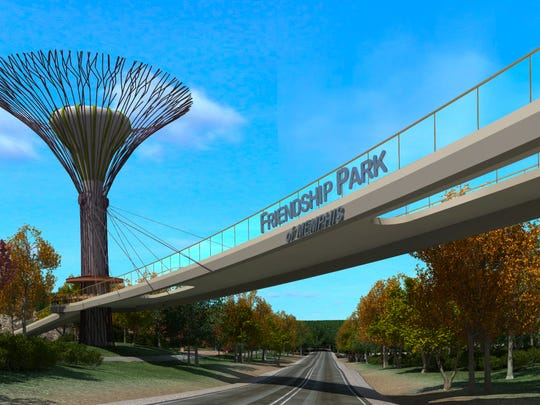 Rendering of proposed Friendship Park in Memphis