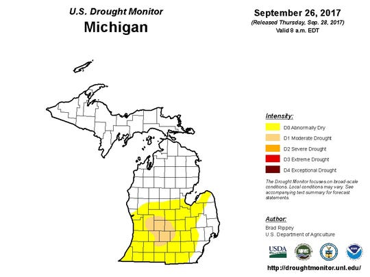 Drought report for Michigan from Sept. 26, 2017