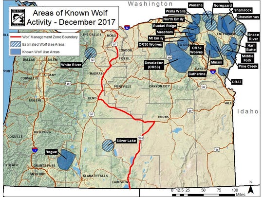 Map showing wolf pack locations across Oregon.